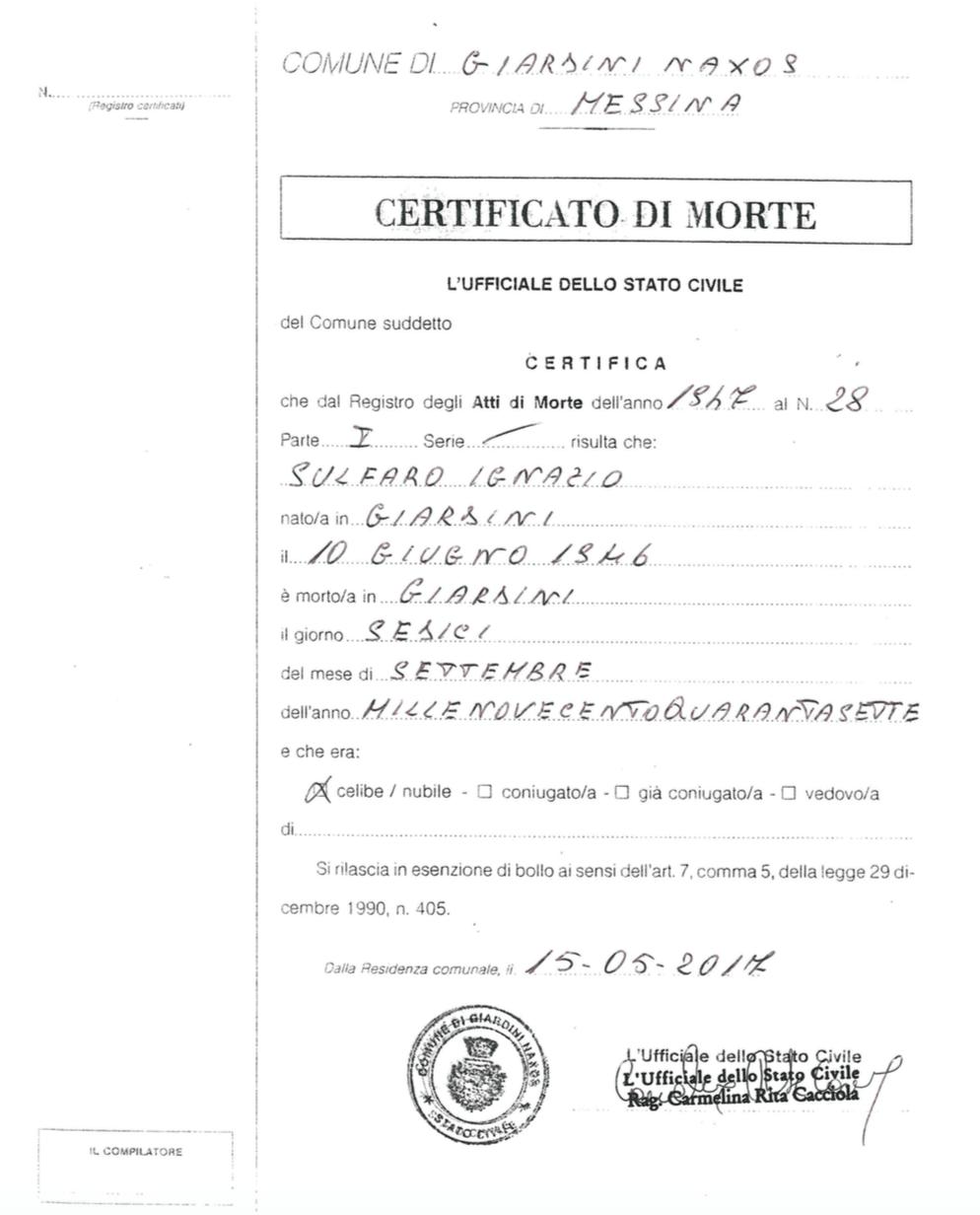 Ignazio Sulfaro - Certificato di Morte - 1947