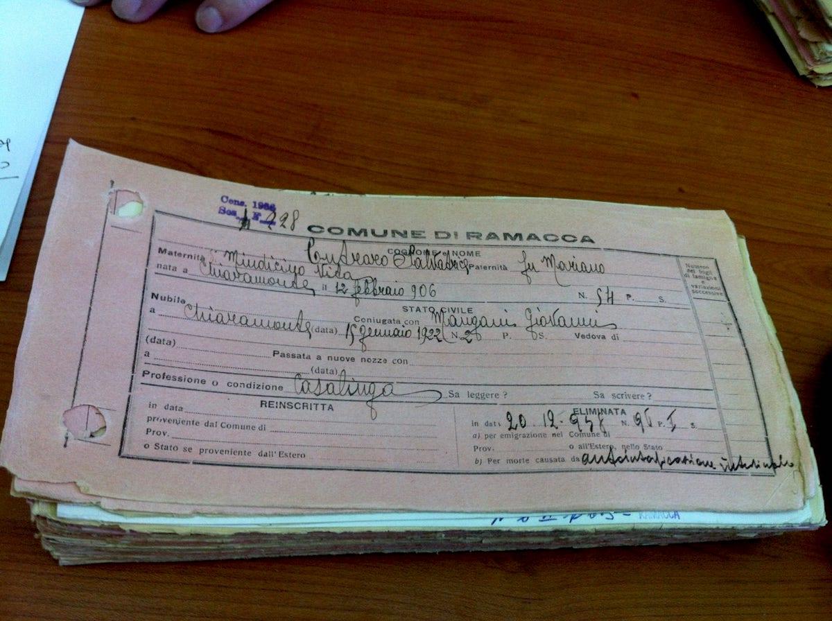 Salvatrice Cutraro civil personal record from Comune di Ramacca
