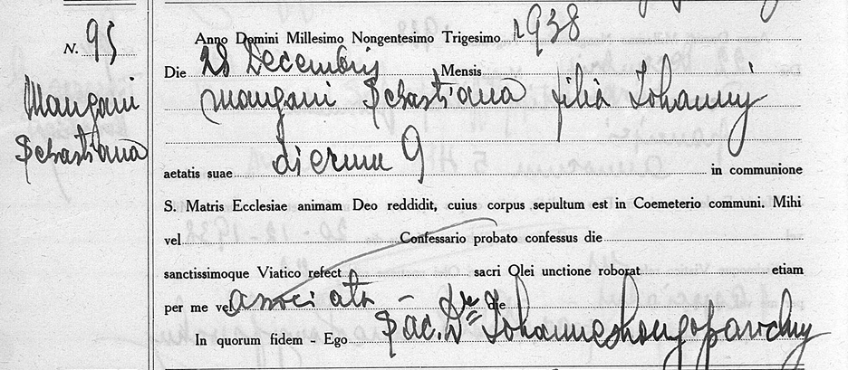 sebastiana mangani death record